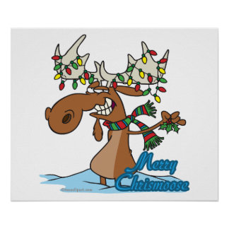 cute merry chrismoose silly christmas moose poster