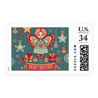 Cute Merry Christmas Angel and presents Postage