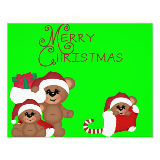Cute Merry Christmas Bears Poster Photo Print