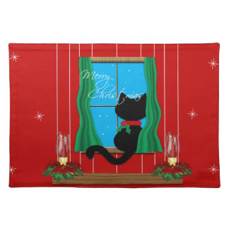 Cute Merry Christmas Black Cat Placemat Cloth Placemat