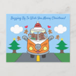Cute Merry Christmas Buzby The Bus Holiday Postcard