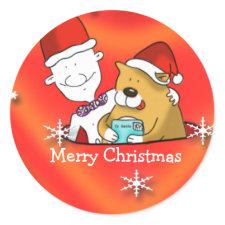 cute Merry Christmas cartoon sticker