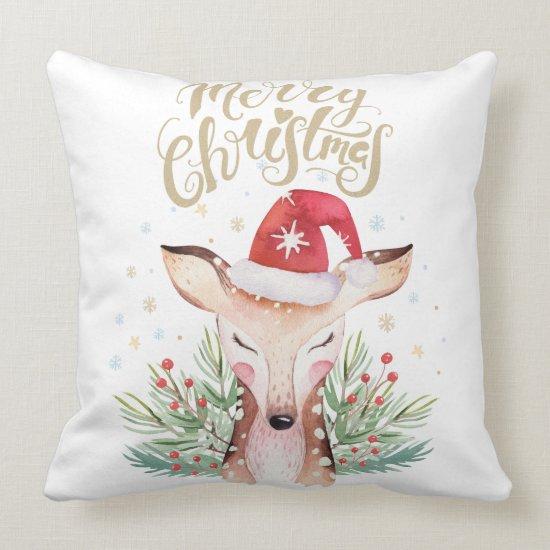 Cute Merry Christmas Deer in Santa Hat Throw Pillow