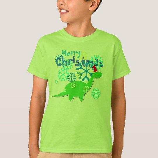 Cute Merry Christmas Dinosaur T-Shirt