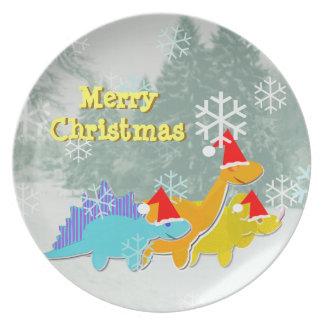 Cute Merry Christmas Dinosaurs Dinner Plate
