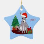 Cute Merry Christmas Donkey Ceramic Ornament