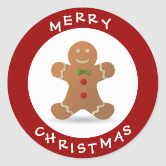 Cute Merry Christmas Gingerbread Man Classic Round Sticker