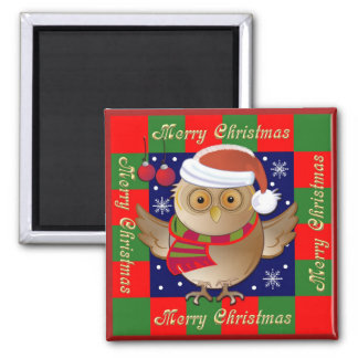 Cute Merry Christmas Magnet with Santa Owl