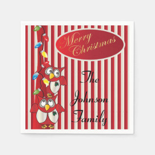 Cute Merry Christmas Owls Paper Napkin at Zazzle