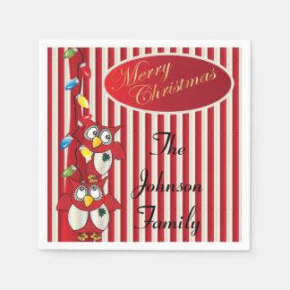 Cute Merry Christmas Owls Paper Napkin