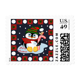 Cute Merry Christmas postage wth Penguin and Robin