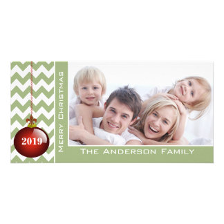 Cute Merry Christmas Red Ornament Chevron Pattern Photo Card