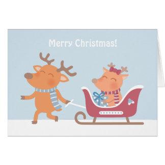 Cute Merry Christmas Reindeer Sleigh Greeting Card