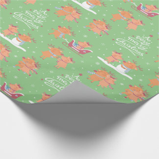Cute Merry Christmas Reindeer Wrapping Paper