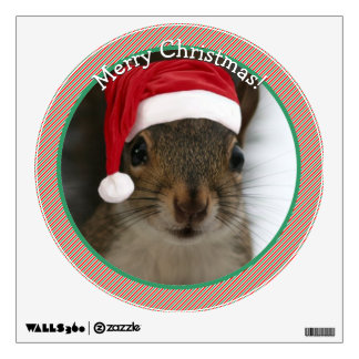 Cute Merry Christmas Santa Squirrel Wall Sticker