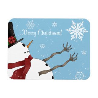 Cute Merry Christmas snowman and snowflakes Rectangular Photo Magnet