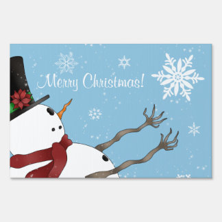 Cute Merry Christmas snowman and snowflakes Yard Signs