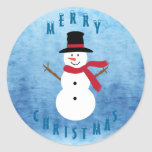 Cute Merry Christmas Snowman Round Stickers