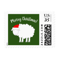 Cute Merry Christmas Stamps With Sheep Farm Animal at Zazzle