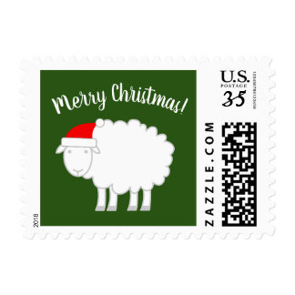Cute Merry Christmas stamps with sheep farm animal