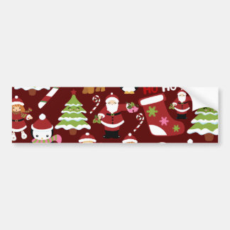 Cute Merry Christmas Xmas Holiday Pattern Bumper Sticker
