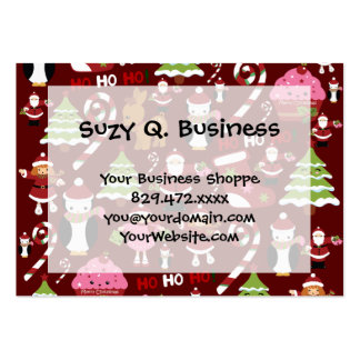 Cute Merry Christmas Xmas Holiday Pattern Large Business Card