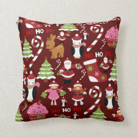 Cute Merry Christmas Xmas Holiday Pattern Pillow