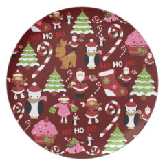 Cute Merry Christmas Xmas Holiday Pattern Plate