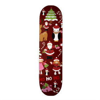 Cute Merry Christmas Xmas Holiday Pattern Skateboard