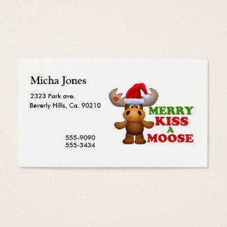 Cute Merry Kiss A Moose Christmas Business Card