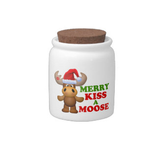 Cute Merry Kiss A Moose Christmas Candy Jars