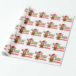 Cute Merry Kiss A Moose Christmas Gift Wrap Paper