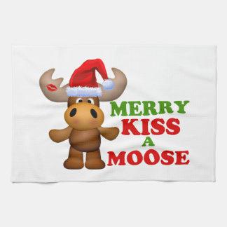Cute Merry Kiss A Moose Christmas Kitchen Towel