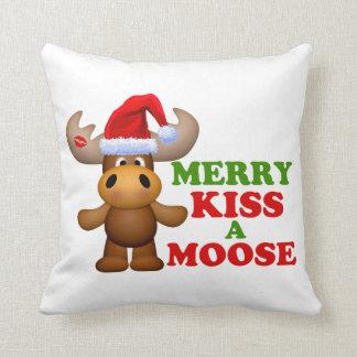 Cute Merry Kiss A Moose Christmas Throw Pillows