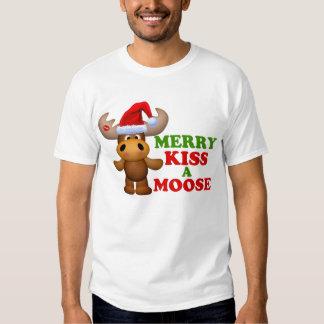 Cute Merry Kiss A Moose Christmas Tees