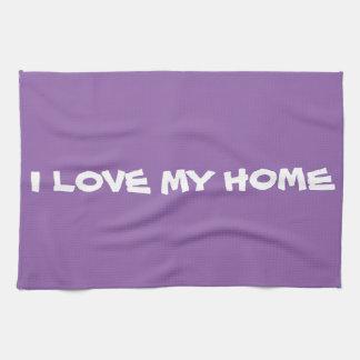 "Cute MESSAGE ""I LOVE MY HOME"" Kitchen Towel Purple"