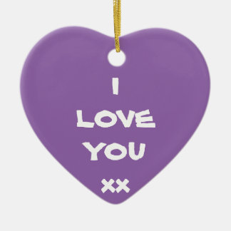 Cute message I LOVE YOU xx Heart Ornament