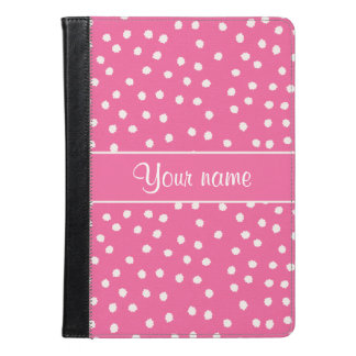 Cute Messy White Polka Dots Pink Background iPad Air Case