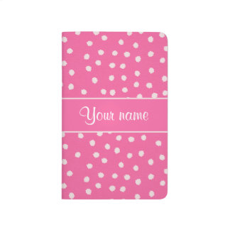 Cute Messy White Polka Dots Pink Background Journal