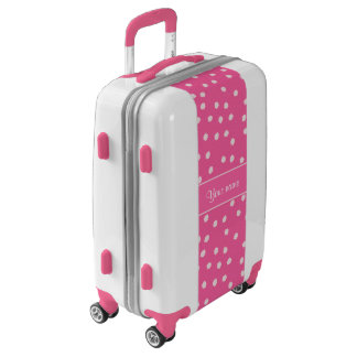 Cute Messy White Polka Dots Pink Background Luggage