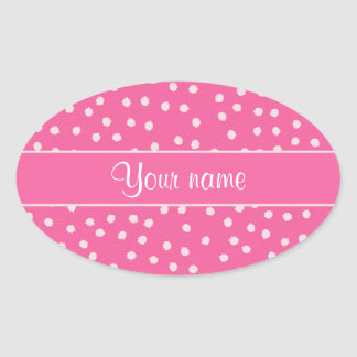 Cute Messy White Polka Dots Pink Background Oval Sticker