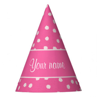 Cute Messy White Polka Dots Pink Background Party Hat