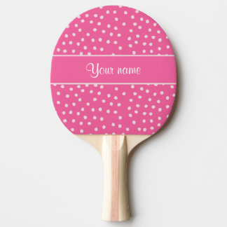 Cute Messy White Polka Dots Pink Background Ping-Pong Paddle