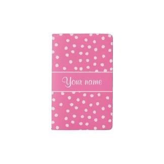 Cute Messy White Polka Dots Pink Background Pocket Moleskine Notebook