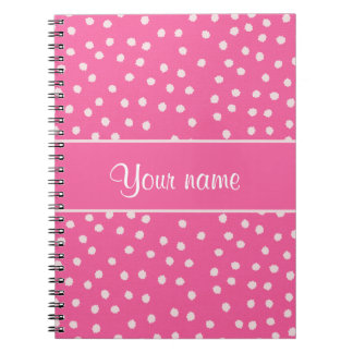 Cute Messy White Polka Dots Pink Background Spiral Notebook