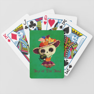 Cute Mexican Day of The Dead Girl Bicycle Playing Cards