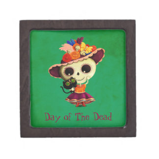 Cute Mexican Day of The Dead Girl Jewelry Box