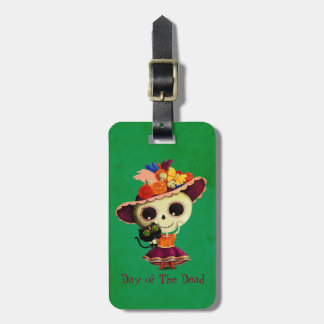 Cute Mexican Day of The Dead Girl Luggage Tag