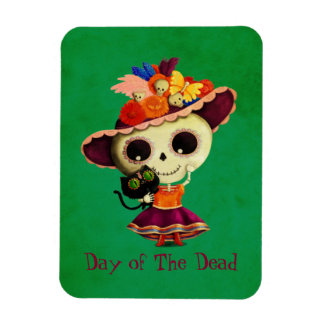 Cute Mexican Day of The Dead Girl Magnet