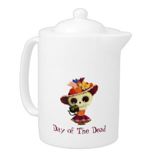 Cute Mexican Day of The Dead Girl Teapot